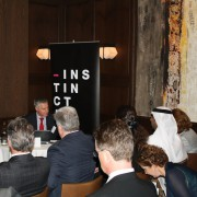 Instinctif Partner's Damian Reece speaking at the 'Hold the Front Page' event hosted by MEIRS