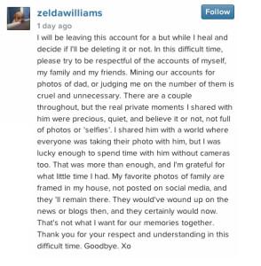 zelda williams comment instagram
