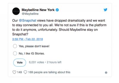 Maybelline Snapchat poll